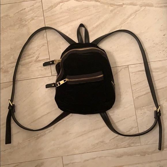 Madden Girl Handbags - 🔳Worn Once! Black Velvet and Gold Mini Backpack🔳